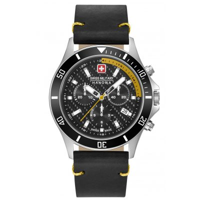 Swiss Military Hanowa 06-4337.04.007.20 Mens Watch Flagship Racer Chrono Black Leather Strap 7620958001114