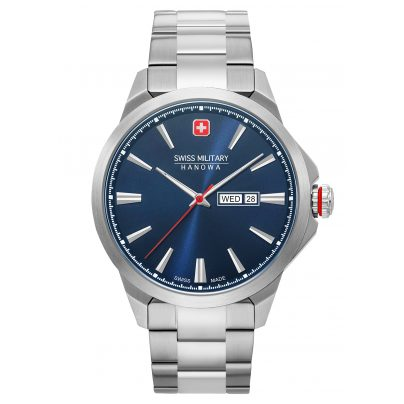 Swiss Military Hanowa 06-5346.04.003 Men's Wristwatch Day Date Classic Stainless Steel Blue 7620958001640