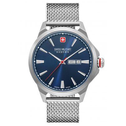 Swiss Military Hanowa 06-3346.04.003 Men's Watch Day Date Classic Mesh Stainless Steel Blue 7620958001572