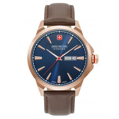 Swiss Military Hanowa 06-4346.02.003 Men's Watch Day Date Classic Leather Strap Brown 7620958001602