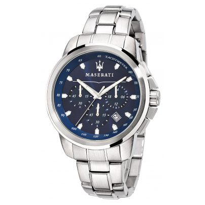 Maserati R8873621002 Herrenuhr Chronograph Successo Silber/Blau 8033288702221
