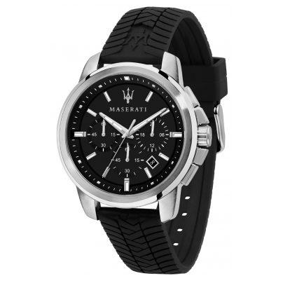 Maserati R8871621014 Men's Watch Chronograph Successo Black Silicone Strap 8033288894186