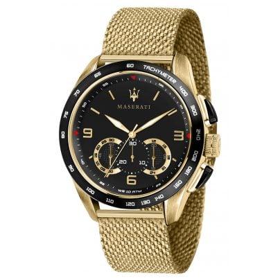 Maserati R8873612010 Herrenuhr Chronograph Traguardo Mesh-Armband goldfarben 8033288844686