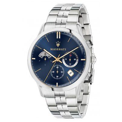 Maserati R8873633001 Herrenuhr Chronograph Ricordo silber/blau 8033288813576