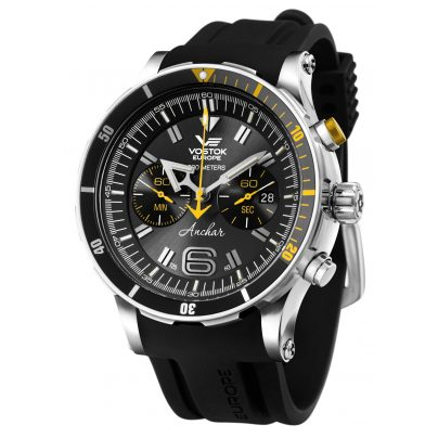 Vostok Europe 6S21-510A584 Anchar Chronograph Men's Watch Black with Two Straps 4260157449015