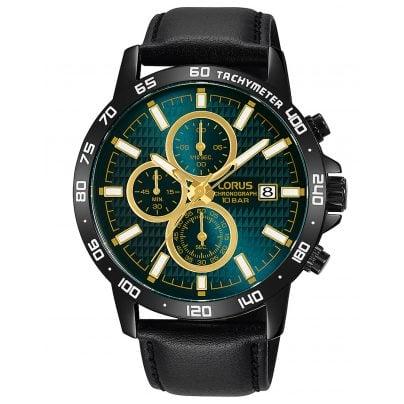 Lorus RM319GX9 Herrenuhr Chronograph Sport mit Lederband Schwarz 4894138345999