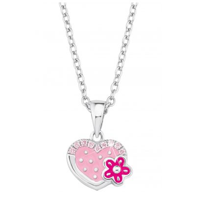 Prinzessin Lillifee 2021045 Silver Children's Necklace Heart with Flower 4056867010405