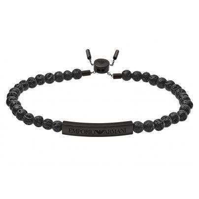 Emporio Armani EGS2478001 Herren-Armband Heritage Lavasteine Schwarz 4053858991613