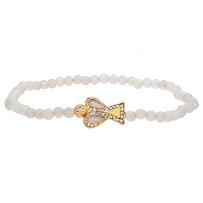 Julie Julsen JJBR0609.3.WQ Armband aus weißem Quarz mit Schutzengel 9120098051744