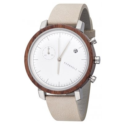 Kerbholz Mens Wood Watch Chronograph Franz Walnut/Rock 4251240407456