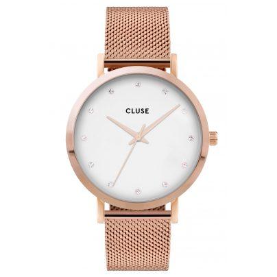 Cluse CW0101202002 Damenuhr Pavane Mesh-Armband weiß / roségold 8719743373747