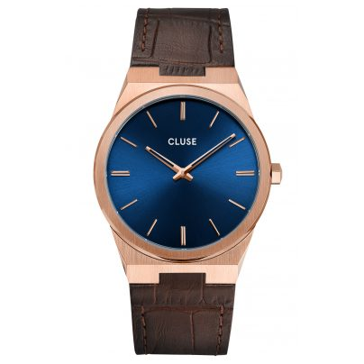 Cluse CW0101503002 Men's Watch with Leather Strap Vigoureux rose gold / blue 8719743376021