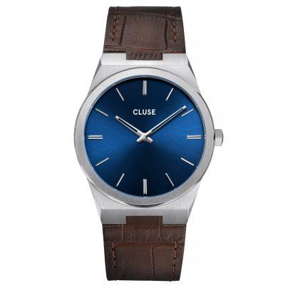 Cluse CW0101503001 Herren-Armbanduhr mit Lederband Vigoureux Stahl/Blau 8719743376014