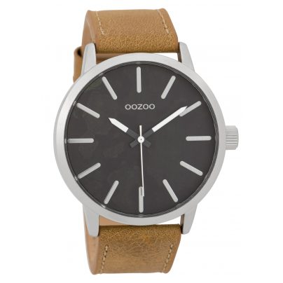 Oozoo C9600 Herrenuhr 45 mm Paint-Look-Zifferblatt Schwarz/Sand 8719929005578