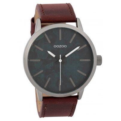 Oozoo C9603 Herrenuhr 45 mm Paint-Look-Zifferblatt Grau/Rot 8719929005608