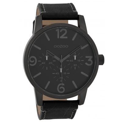 Oozoo C9654 Herren-Armbanduhr mit Lederband Schwarz 45 mm 8719929006117