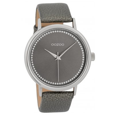 Oozoo C9708 Damenuhr mit Lederband Grau 42 mm 8719929006650