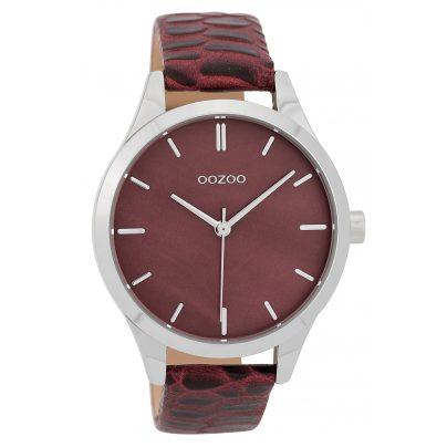 Oozoo C9722 Damenuhr mit Lederband Weinrot 42 mm 8719929006797