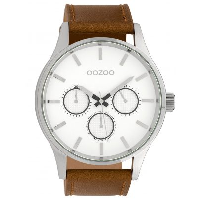Oozoo C10045 Herrenarmbanduhr Silberfarben/Braun 48 mm 8719929010664