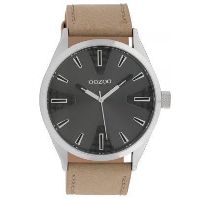 Oozoo C10021 Uhr in Unisexgröße Dunkelgrau/Beige 45 mm 8719929010428