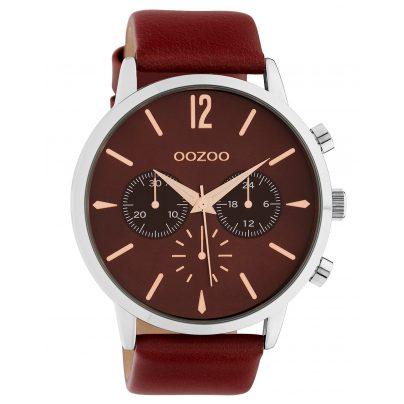 Oozoo C10356 Herrenuhr mit Lederband Ø 48 mm Weinrot 8719929014655