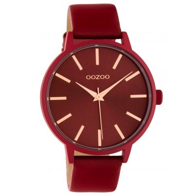 Oozoo C10618 Damenuhr mit Lederband Rot Quarz 42 mm 8719929018820