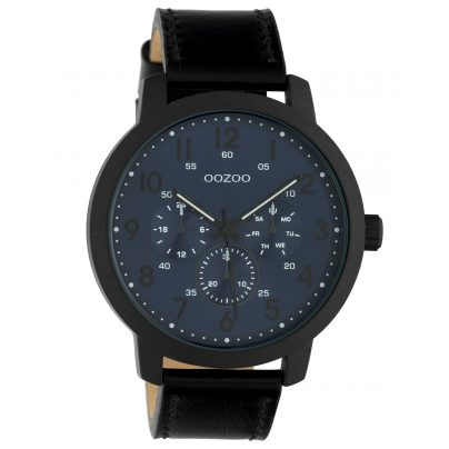Oozoo C10509 Men's Watch with Leather Strap Chrono Look Black / Blue 8719929017731