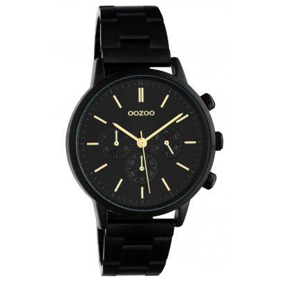Oozoo C10564 Damenuhr mit Edelstahl-Armband im Chrono-Look schwarz / gold 8719929018288