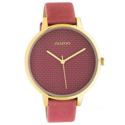 Oozoo C10591 Damenuhr mit Lederband 42 mm altrosa / gold 8719929018554