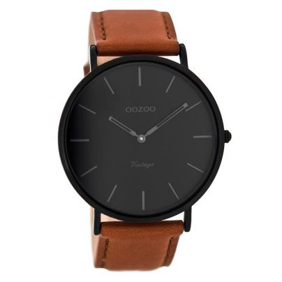 Oozoo C8126 Vintage Watch with Leather Strap Cognac/Black 44 mm 9879012512327