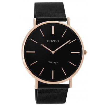 Oozoo C8869 Unisex Armbanduhr Vintage Schwarz/Rosé 40 mm 9879012520001