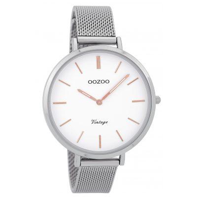 Oozoo C9371 Damenuhr Vintage Silber/Weiß 40 mm 8719929002508