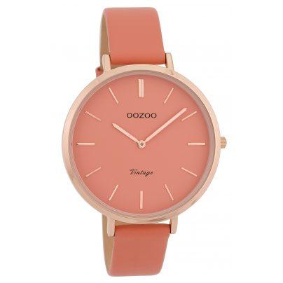 Oozoo C9806 Damenuhr Vintage Rosa 40 mm mit Lederarmband 8719929007565