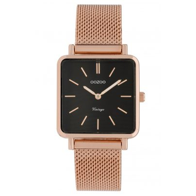 Oozoo C9848 Ladies' Watch Vintage Black/Mesh Band 28 mm 8719929008364