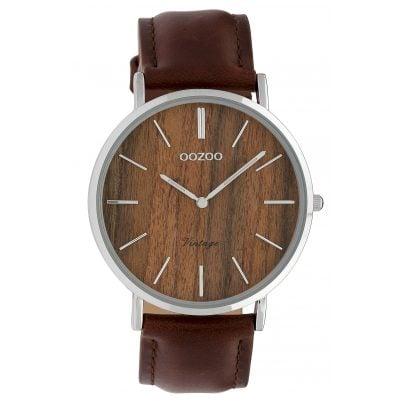 Oozoo C9868 Damenuhr Vintage Holz Braun/Lederband 40 mm 8719929008562