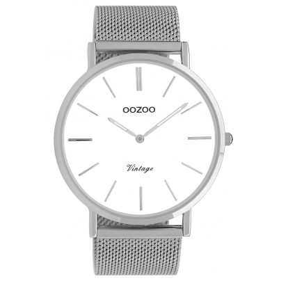 Oozoo C9900 Watch Vintage Silver/White 44 mm 8719929009606