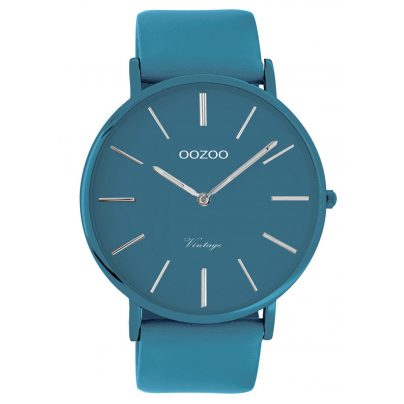 Oozoo C9878 Watch with Leather Strap Marine Blue 44 mm 8719929013818