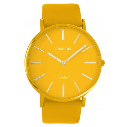 Oozoo C9881 Armbanduhr mit Lederband Senfgelb 44 mm 8719929013849
