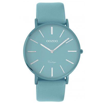Oozoo C9883 Armbanduhr mit Lederband Aquamarinblau 40 mm 8719929013863