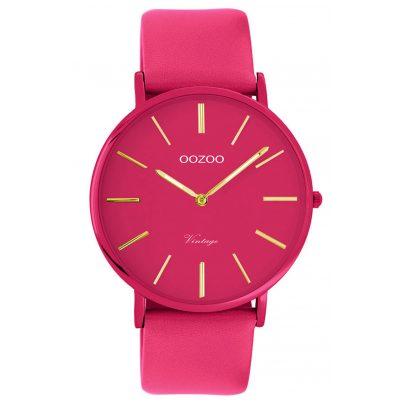 Oozoo C9888 Armbanduhr mit Lederband Fuchsia 40 mm 8719929013917