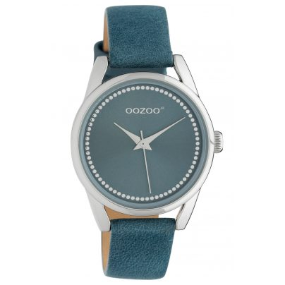 Oozoo JR307 Damenuhr mit Lederband 32 mm Blau 8719929019216