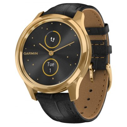Garmin 010-02241-02 vivomove Luxe Smartwatch with Leather Strap Black 0753759234522