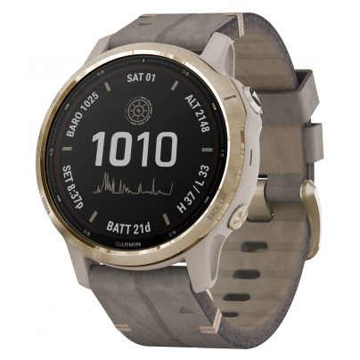 Garmin 010-02409-26 Fenix 6S Pro Solar Smartwatch Goldfarben / Leder Grau 0753759261245