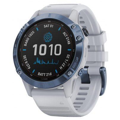 Garmin 010-02410-19 Fenix 6 Pro Solar Smartwatch Steinweiß / Blau Titan 0753759251888