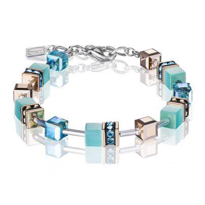 Coeur de Lion 4016/30-2000 Damen-Armband GeoCUBE Aqua Edelstahl blau / roségol 4251588300945