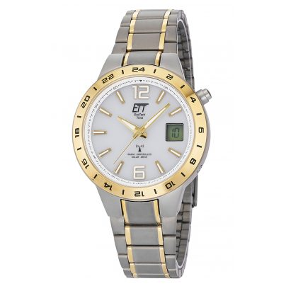 ETT Eco Tech Time EGT-11410-40M Radio-Controlled Solar Watch Titanium Two-Colour 4260503036906