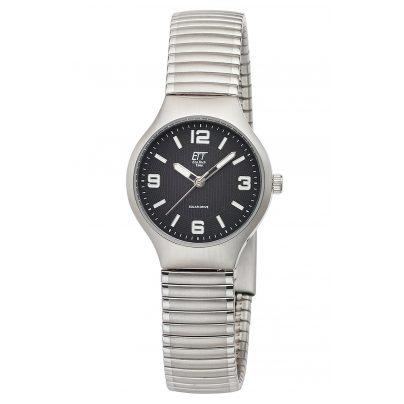 ETT Eco Tech Time ELS-12089-21M Damen-Armbanduhr Sorona Solar mit Zugband Schwarz 4260503036432