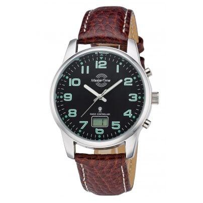 Master Time MTGA-10426-22L Herren-Funkuhr Basic Lederband Braun 4260411152477