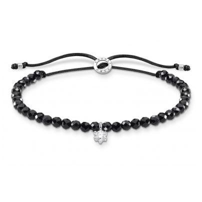 Thomas Sabo A1987-401-11-L20v Armband für Damen Schwarz mit weißem Stein 4051245487510