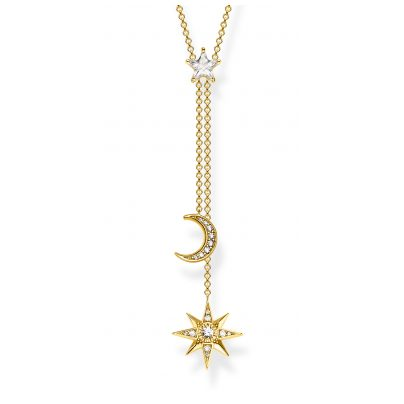 Thomas Sabo KE1900-414-14-L45V Damen-Halskette Stern & Mond Silber vergoldet 4051245451078
